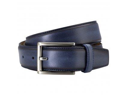 Pánský kožený pásek LINDENMANN Porthos - modrý