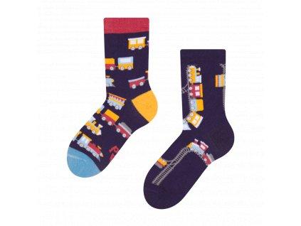 dětské veselé ponožky Vláčky (1)