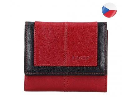 Dámská kožená peněženka LAGEN Neami - červená/černá