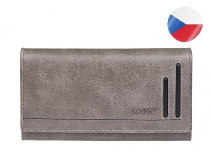 šedá kožená peněženka LAGEN (1)