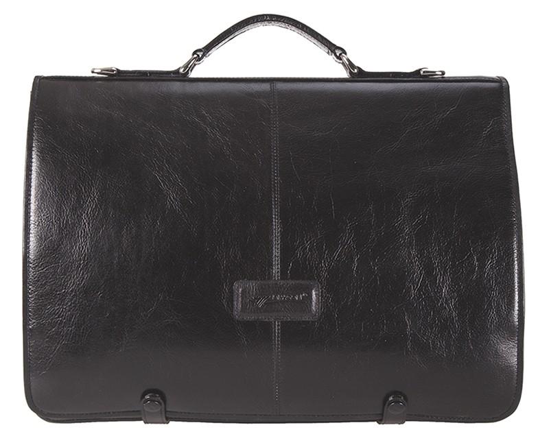 černá kožená aktovka 362/bílé kov., DRAGON