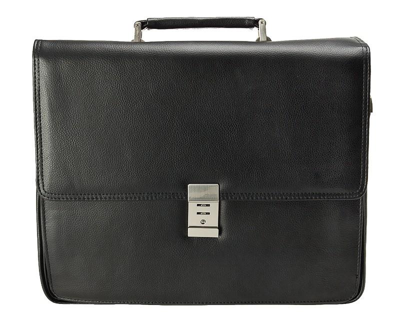 """černá aktovka na notebook 14"""" z umělé kůže 537501, d&n lederwaren"""