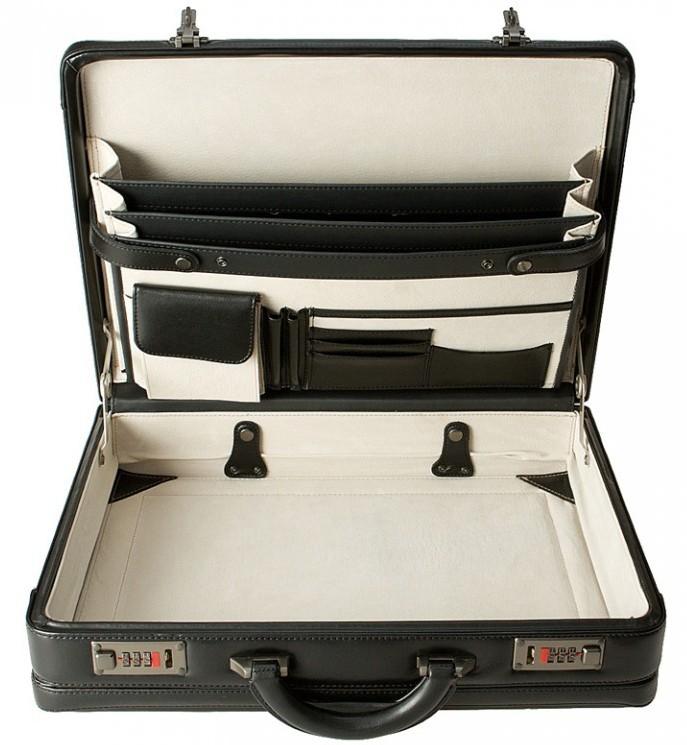 černý kožený ataše kufřík 263201, d&n lederwaren
