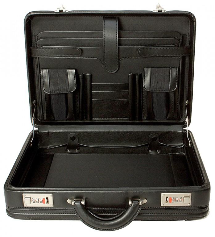 černý ataše kufřík 262201, d&n lederwaren