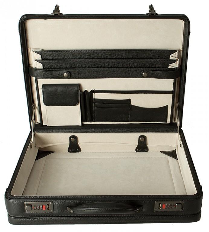 černý kožený ataše kufřík 266501, d&n lederwaren