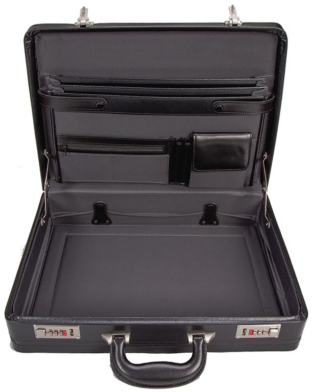 černý kožený ataše kufřík 266701, d&n lederwaren