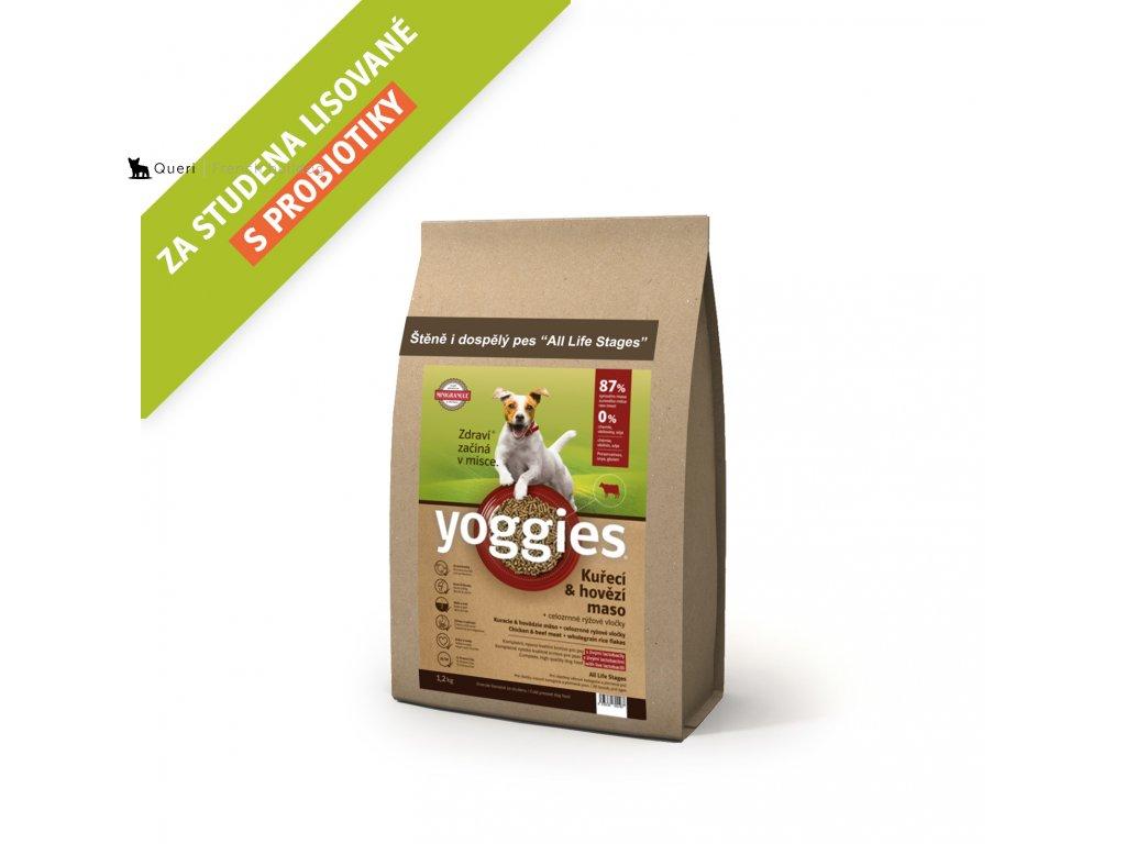 Yoggies 1,2 kg MINI Kuřecí a hovězí granule lisované za studena s probiotiky