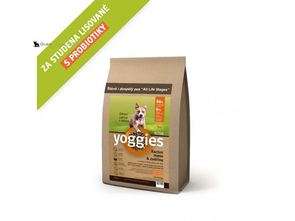 Yoggies 1,2 kg Active Kachna a zvěřina granule lisované za studena s probiotiky