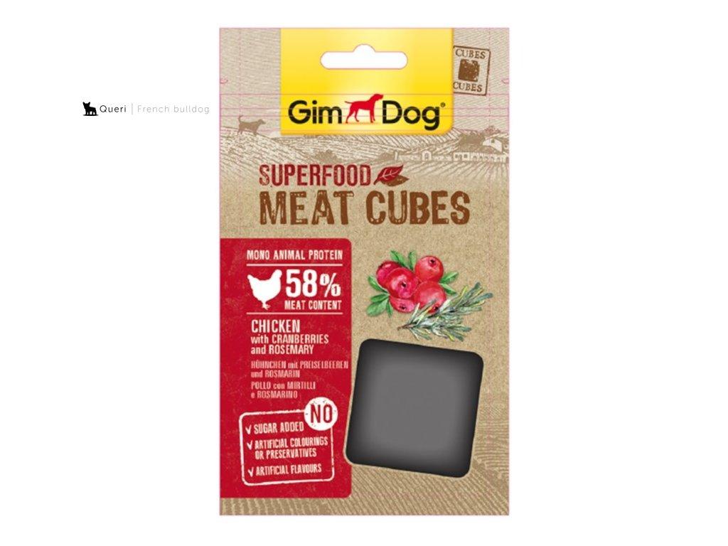 GIMDOG Superfood Meat Cubes Kure, brusinky a rozmaryn 40g