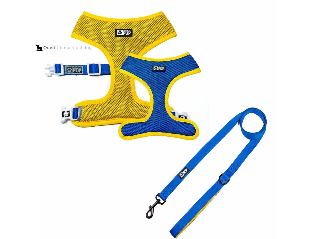 Oboustranné kšíry vel. XL + Vodítko - Žluto modré