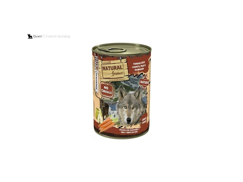 Natural Greatness zvěřina, mrkev, hruška, konzerva pro psy 400 g