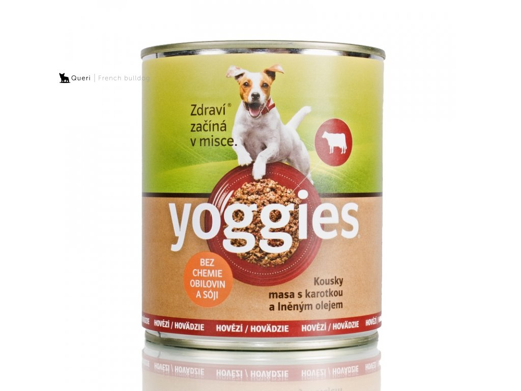 468 800g yoggies hovezi konzerva pro psy s karotkou a lnenym olejem