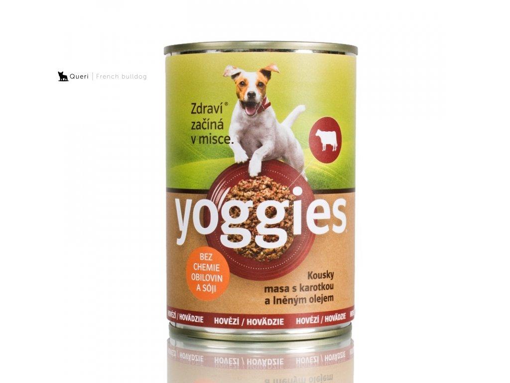 454 400g yoggies hovezi konzerva pro psy s karotkou a lnenym olejem
