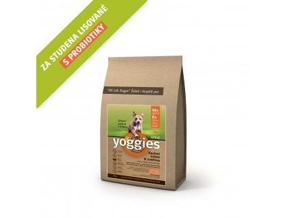 Yoggies 4 kg Active Kachna a zvěřina granule lisované za studena s probiotiky