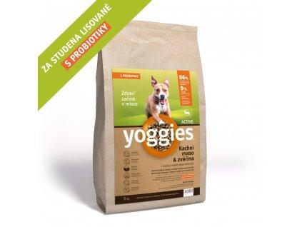 Granule Yoggies Active 5kg, kachna a zvěřina, granule lisované za studena