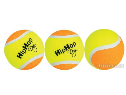 Balení-tenisový míč barevný 6,5 cm HIPHOP DOG (3 ks v bal.)
