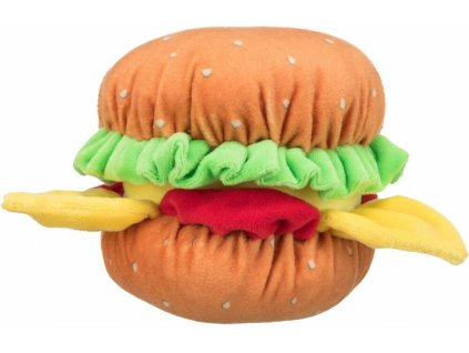 BURGER, plyšový hamburger se zvukem, 13cm