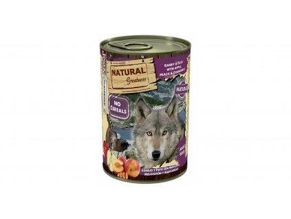 Natural Greatness králík, kachna, jablka, broskve, konzerva pro psy 400 g