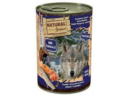 Natural Greatness losos, krůta, dýně, sladký brambor, konzervy pro psy 400 g