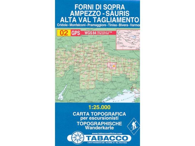 Tabacco WK 02 Forni di Sopra - Ampezzo - Sauris - Alta Val Tagliamento 1:25 000