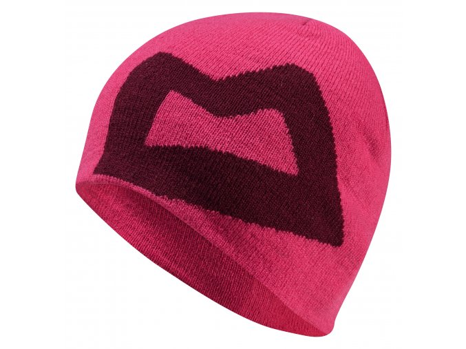 me wmns branded knitted beanie v pink cranberry