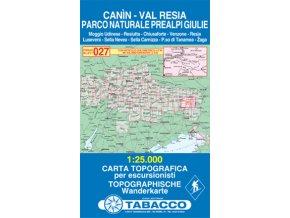 Tabacco WK 027 Kanin a oblast Valli di Resia e Raccolana 1:25 000