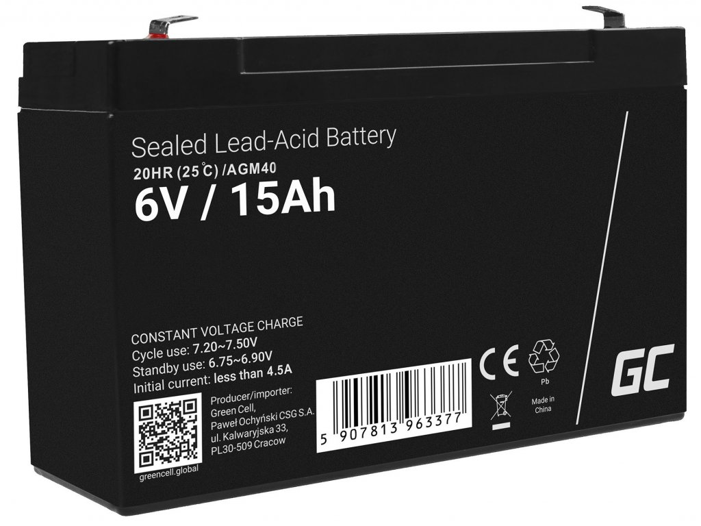 Baterie 6V 15Ah AGM