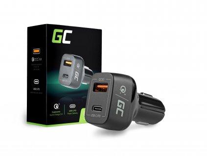 In-car Nabíječka USB-C nabíjecí kabel + USB Quick Charge 3.0