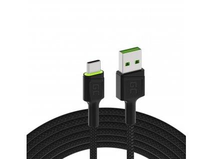 Cable  Ray USB-A - USB-C Green LED 200cm s podporou pro Ultra Charge QC3.0 rychlé nabíjení