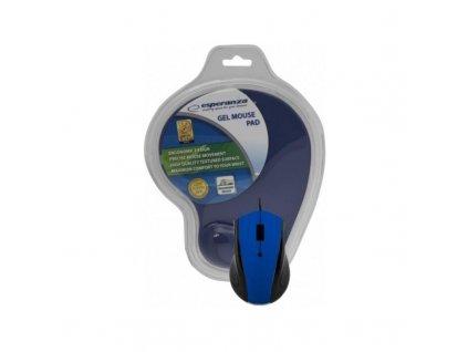 Esperanza EM125B gelová podložka pod myš modrá + drátová myš