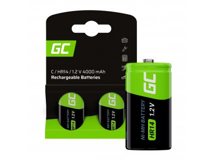 Rechargeable batteries 2x C R14 HR14 Ni-MH 1.2V 4000mAh