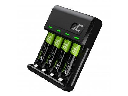 Sada nabíječka baterií AA/AAA s MicroUSB/USB-C a 4x baterie AAA 800mAh HR03