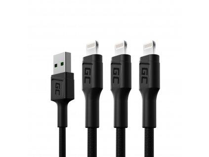 Set 3x Cable  GC Ray Lightning 200cm z s white LED, quick nabíjení Apple 2.4A