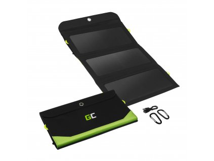Solar Nabíječka  GC SolarCharge 21W - Solar Panel s 10000mAh power bank function USB-C nabíjecí kabel 18W USB-A QC