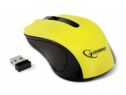 GEMBIRD myš MUSW 101, USB bezdrátová, 1200 DPI, žlutá ...1