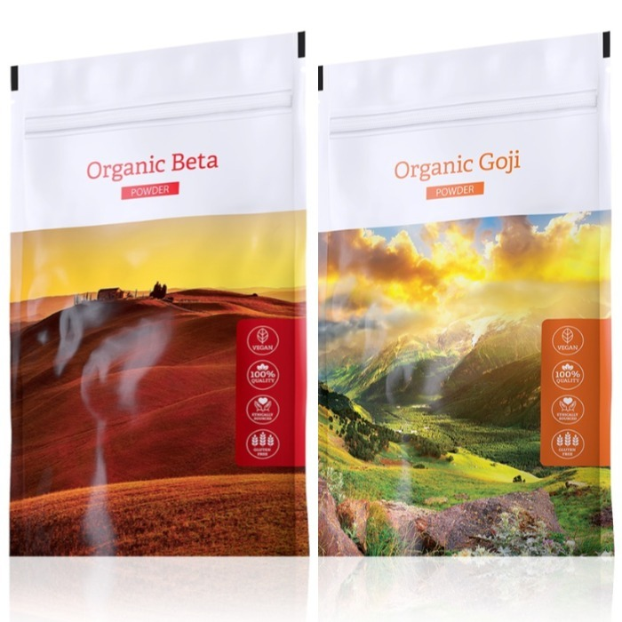 Energy Organic Beta powder 100 g + Organic Goji powder 100 g expirace Organic Beta do září 2019
