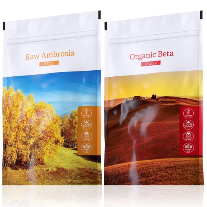 Energy Raw Ambrosia pieces 100 g + Organic Beta powder 100 g expirace Organic Beta do září 2019