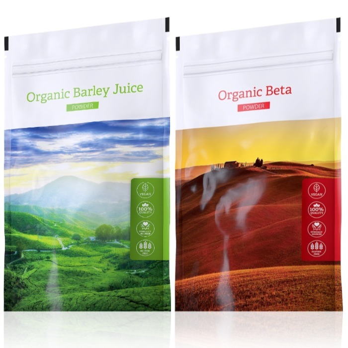 Energy Organic Barley Juice powder 100 g + Organic Beta powder 100 g expirace Organic Beta do září 2
