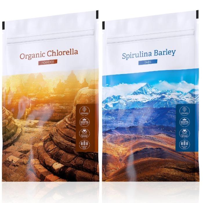 Energy Spirulina Barley tabs 200 tablet + Organic Chlorella powder 100 g