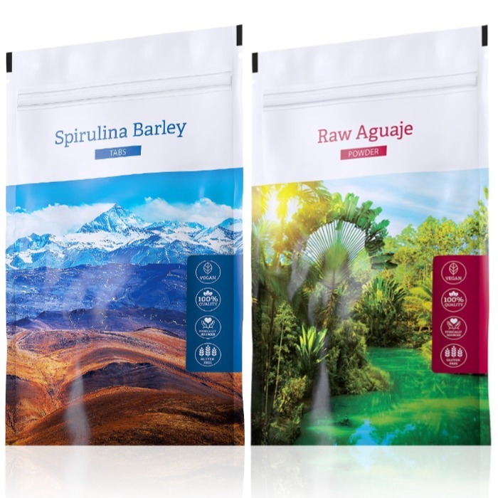 Energy Spirulina Barley tabs 200 tablet + Raw Aguaje powder 100 g