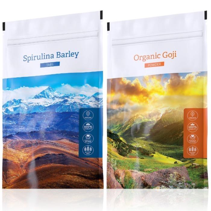 Energy Spirulina Barley tabs 200 tablet + Organic Goji powder 100 g
