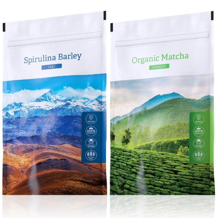 Energy Spirulina Barley tabs 200 tablet + Organic Matcha powder 50 g