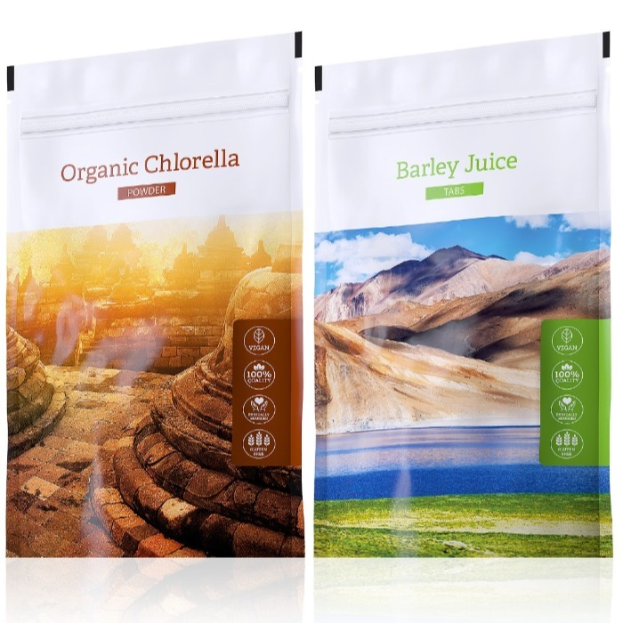 Energy Barley Juice tabs 200 tablet + Organic Chlorella powder 100 g