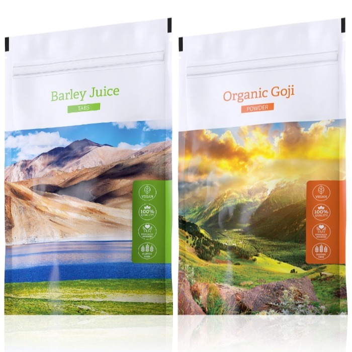Energy Barley Juice tabs 200 tablet + Organic Goji powder 100 g
