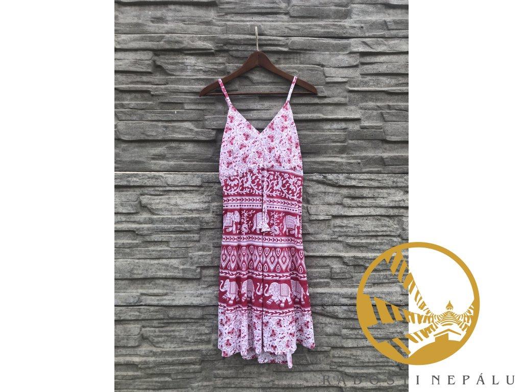 Šaty tříčtvrteční s gumou bílorůžovomodré