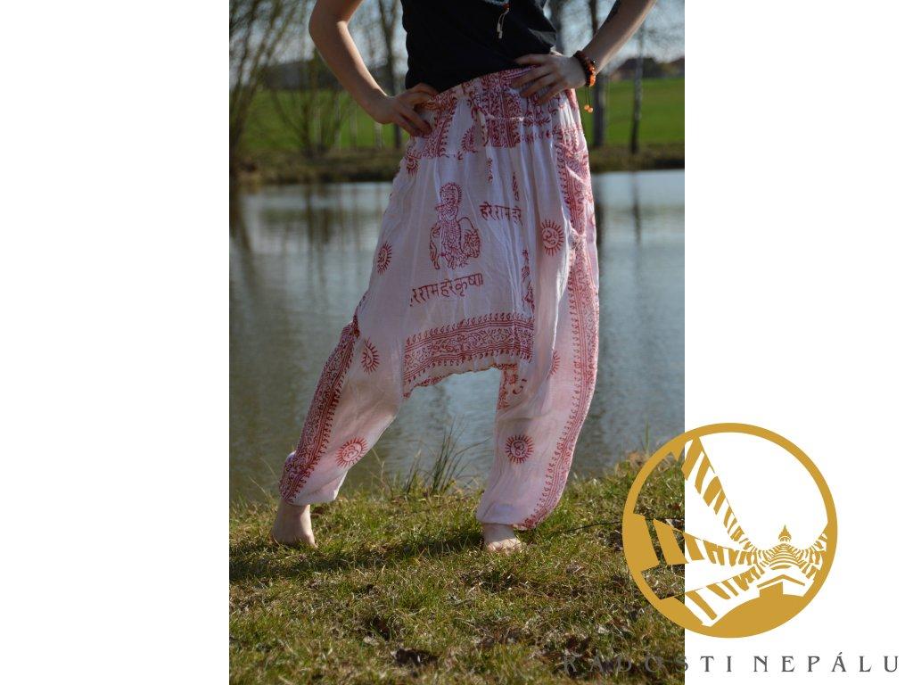 Kalhoty harémové bíločervené
