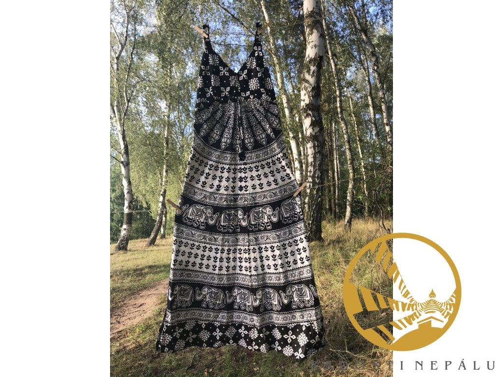 Šaty dlouhé s gumou černo-bílé