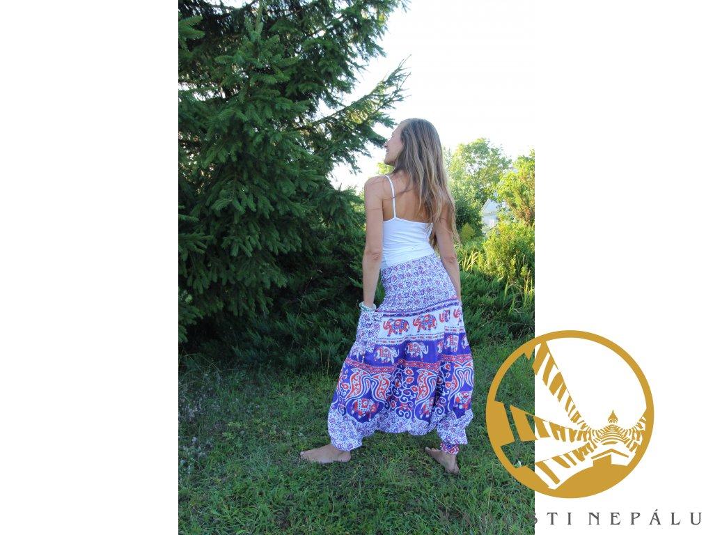 Kalhoty barevné harémové fialovooranžovobílé