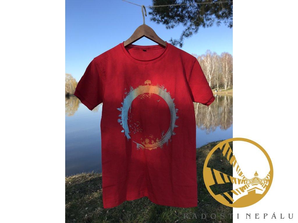 Tričko červené s potiskem koloběhu