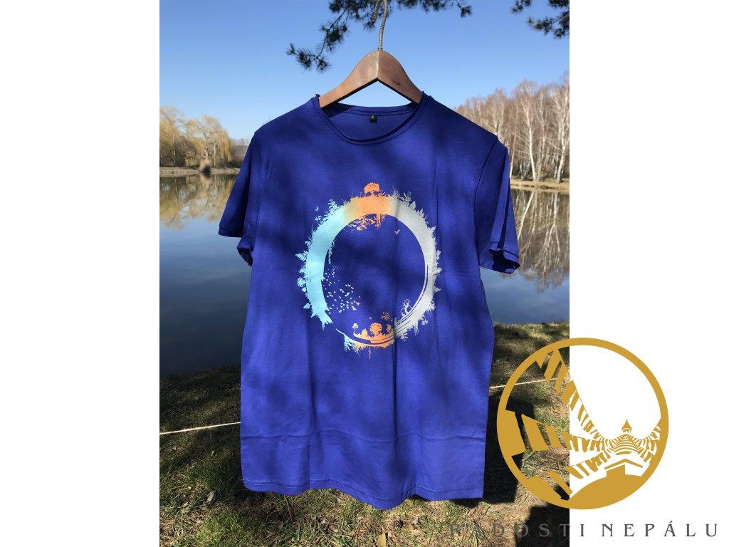 Tričko modré s potiskem koloběhu